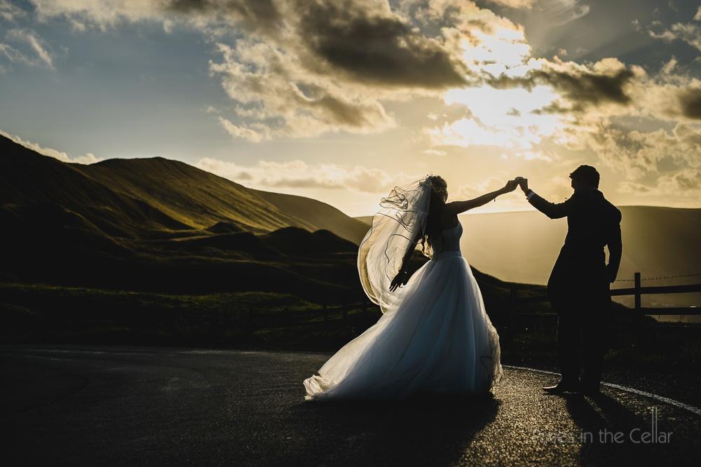 Peak district wedding sunset dance photo