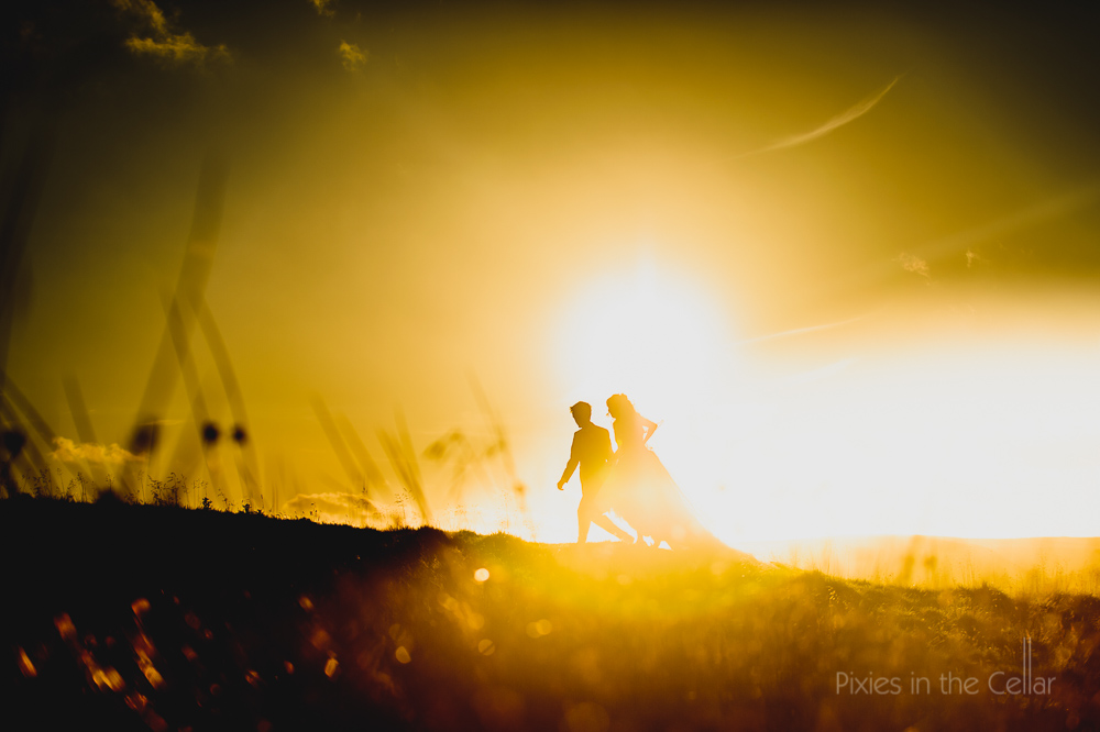 best real moments wedding sunset walking bride and groom