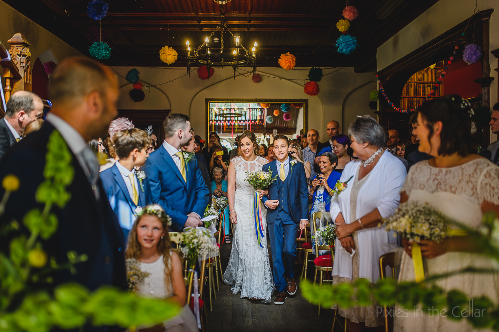 colourful wedding Hargate Hall