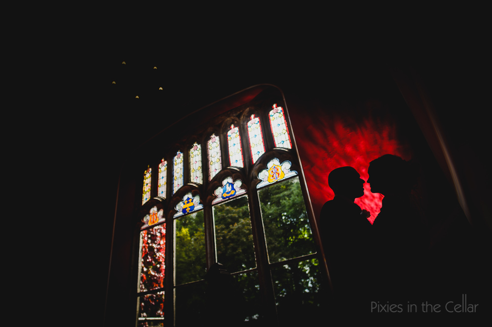 colourful wedding photography red window silhouette