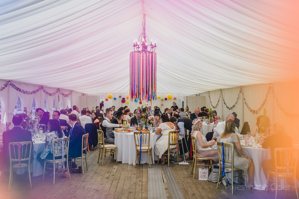 Hargate hall wedding marquee ribbons pom poms