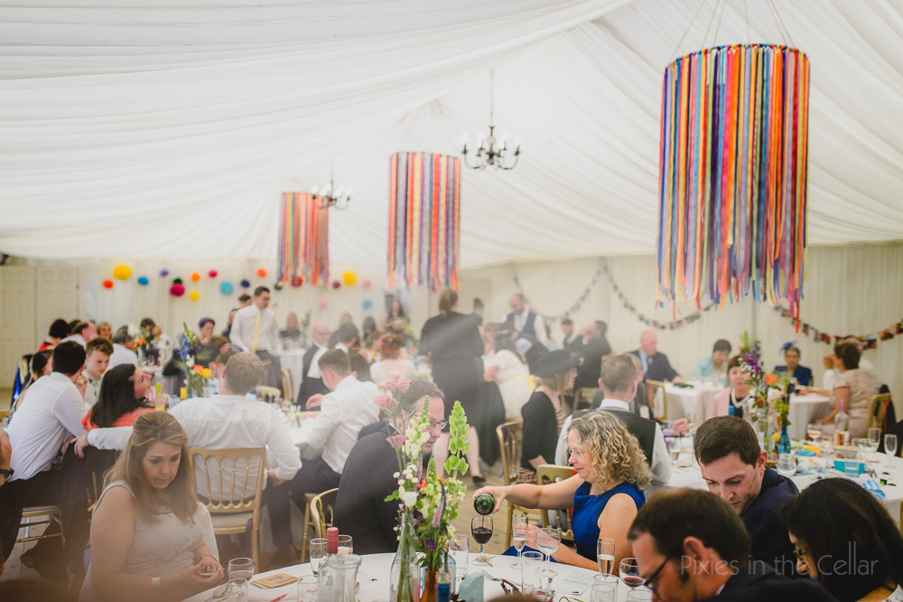 Marquee colourful wedding ribbon candelabras