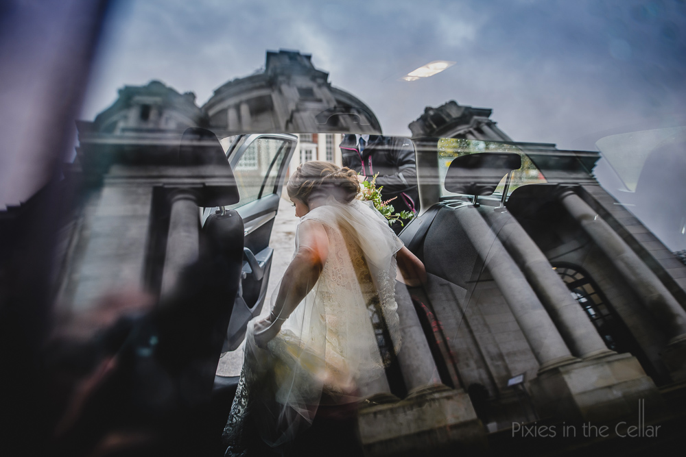 arrival of bride UK elopement
