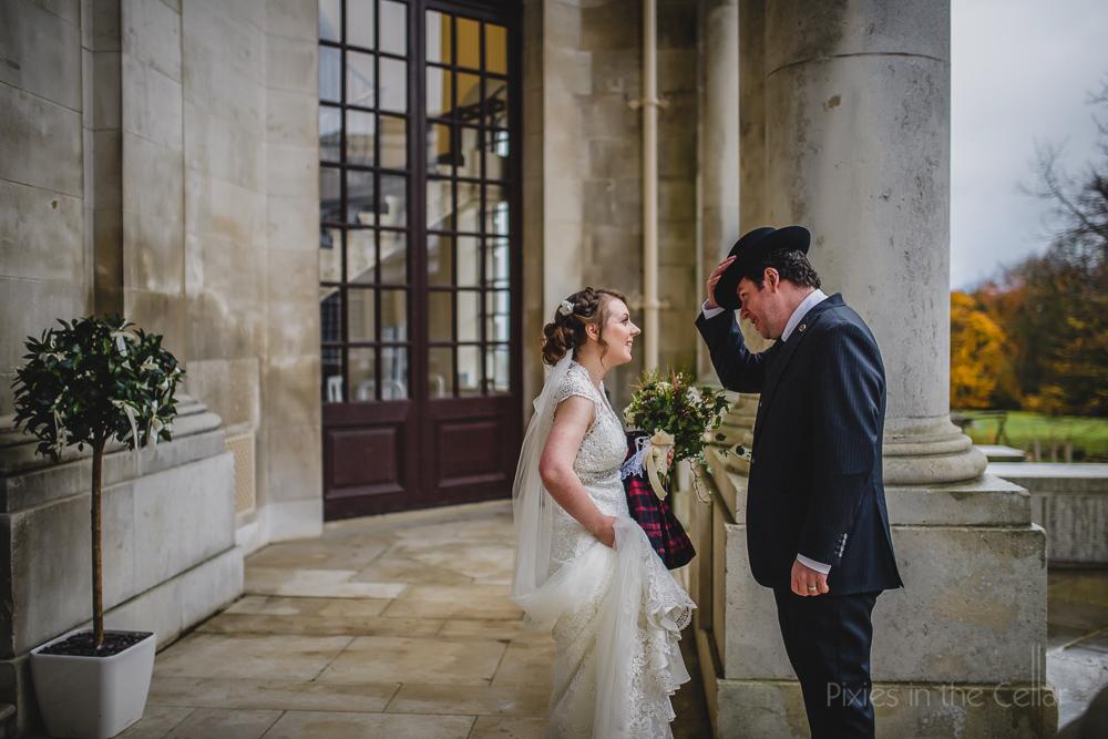 groom in trilby wedding