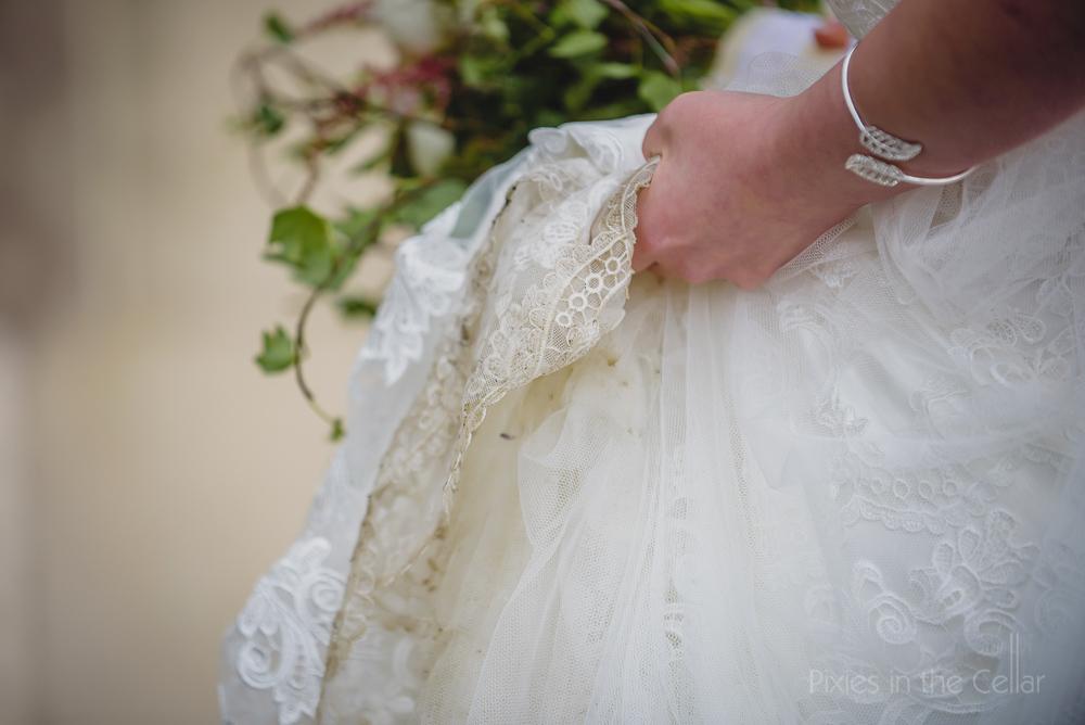 lace wedding dress detail