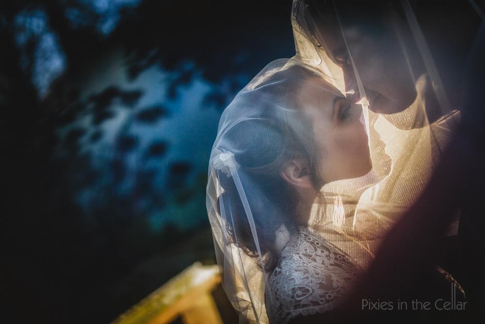 blue orange veil wedding