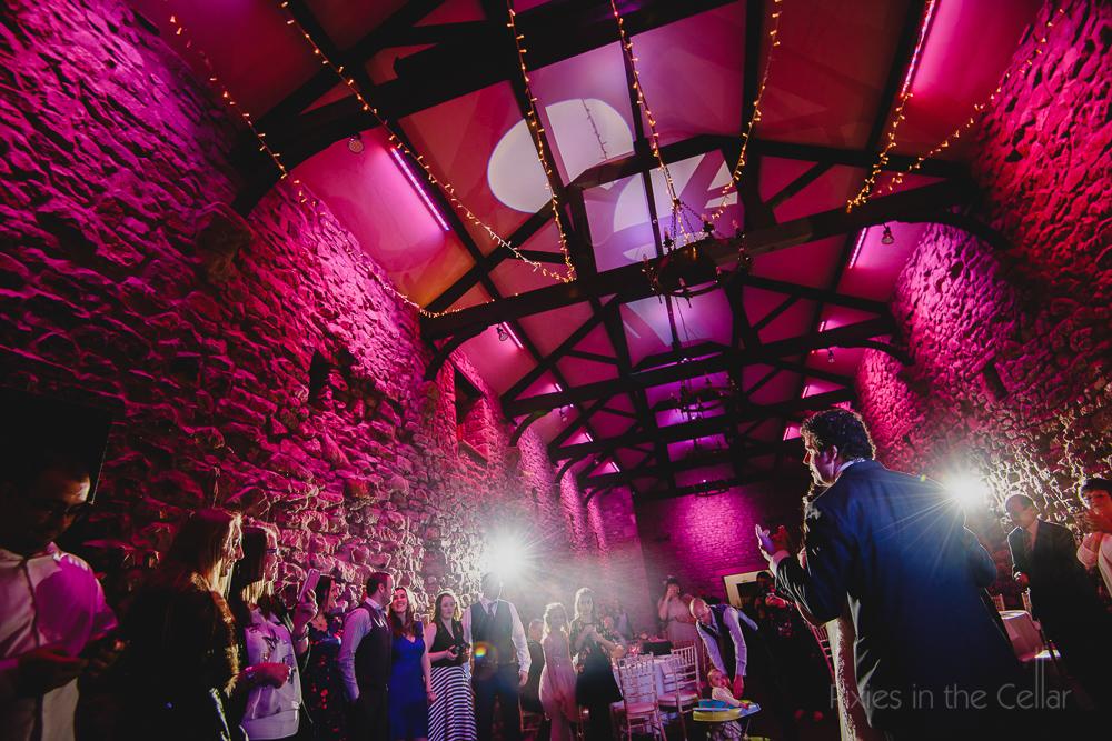pink barn lighting wedding party