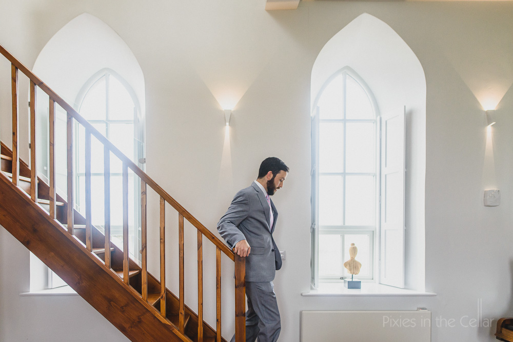 boutique bnb wedding prep groom stairs