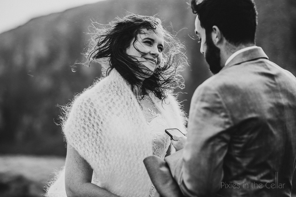 windy outdoor wedding ceremony