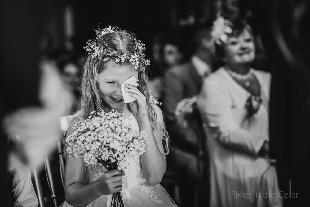 crying wedding flower girl black white photography