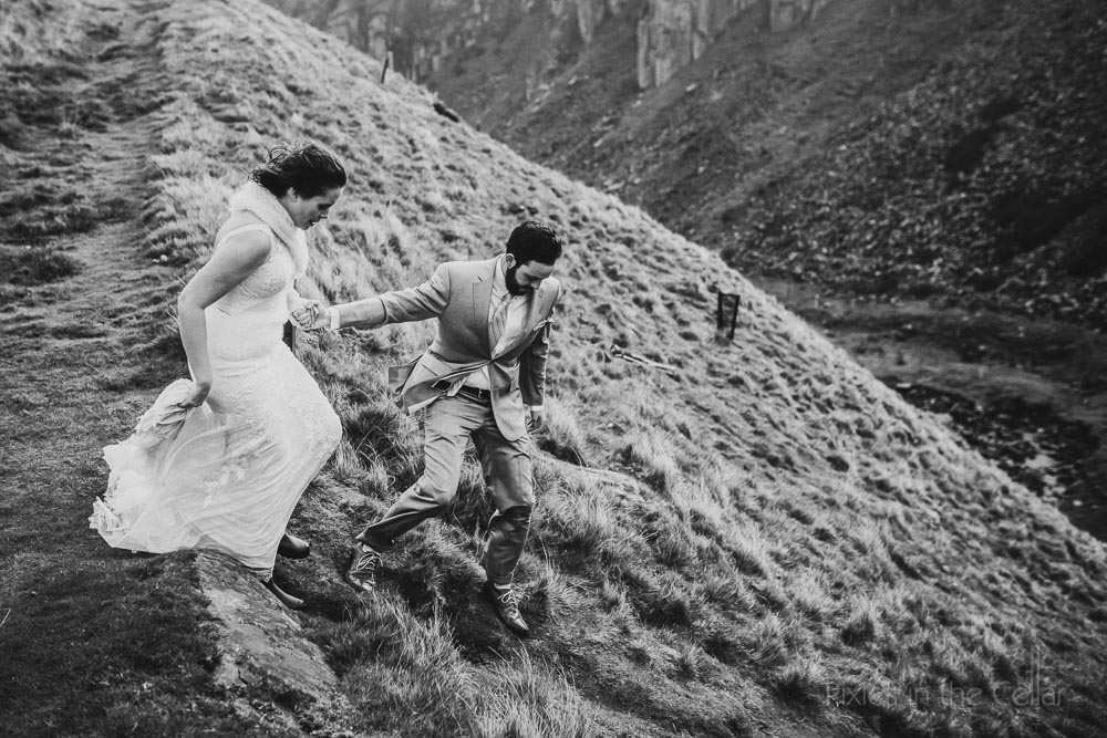 adventurous bride and groom rugged scenery