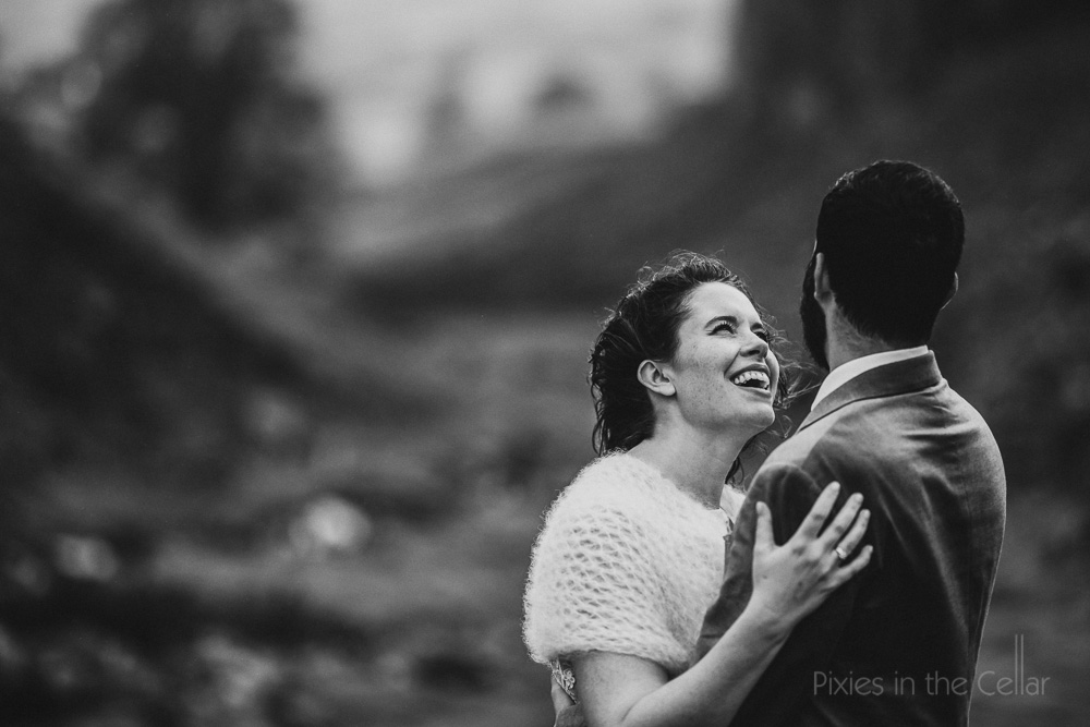 black and white moody wedding photography
