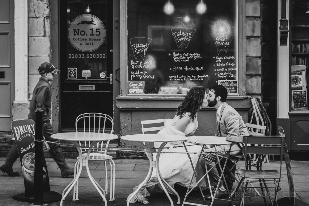 UK wedding elopement US couple at cafe