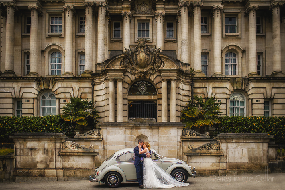 quirky wedding car classic ceremony building