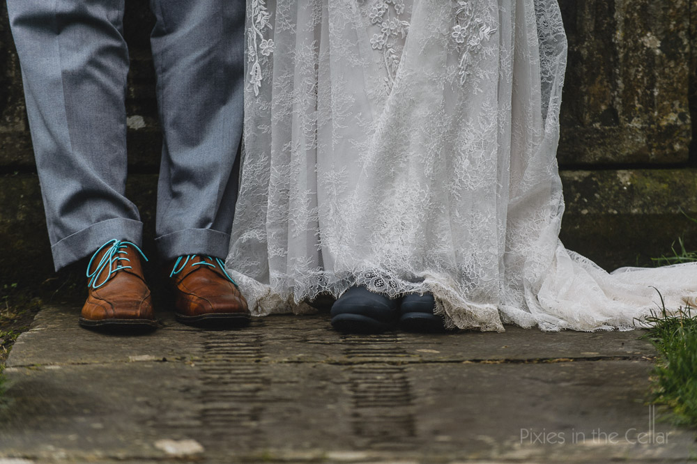 wedding shoes blue laces and wellies