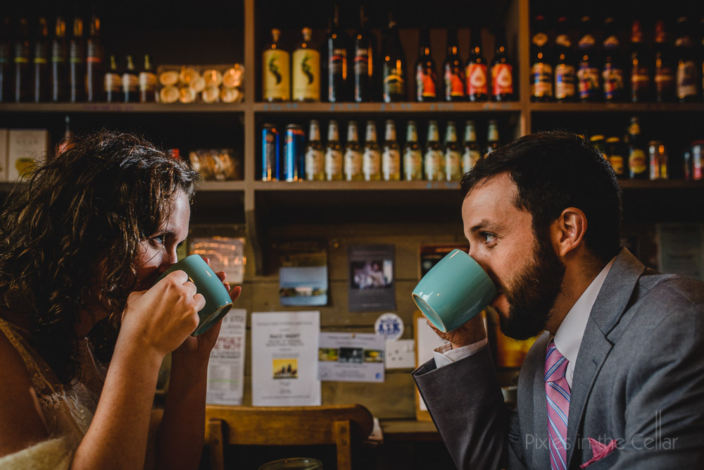 English tea wedding elopement couple photo cafe beer bottles