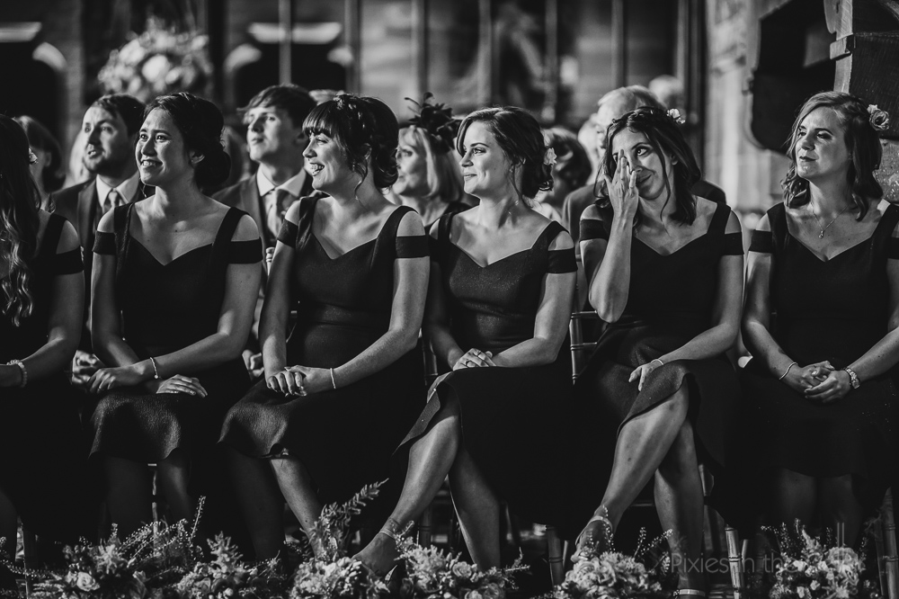 black and white bridesmaids smiles tears