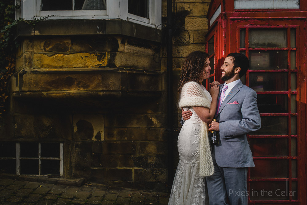English wedding elopement on the streets of UK town