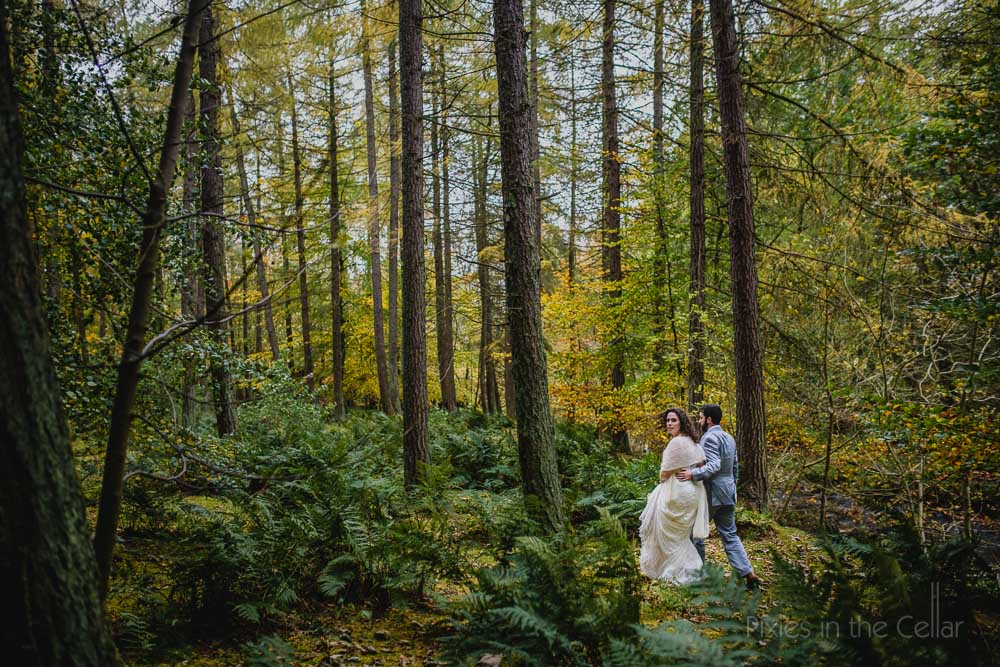 autumnal woods English elopement