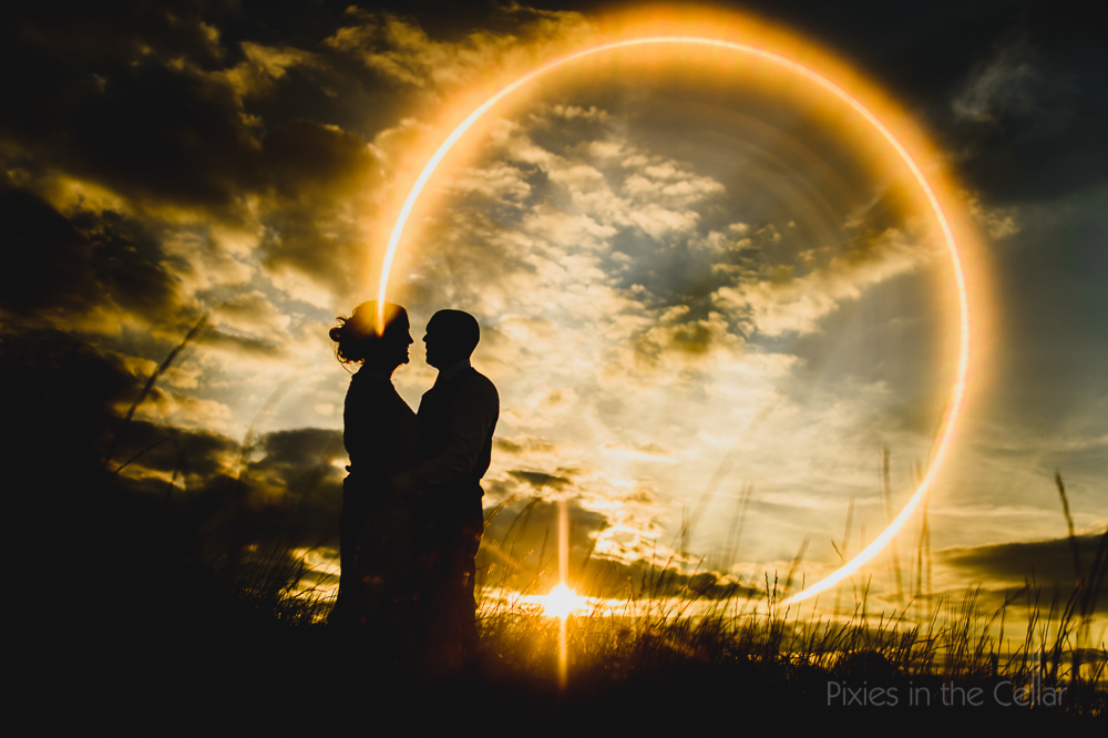 sunset photo in camera wedding couple