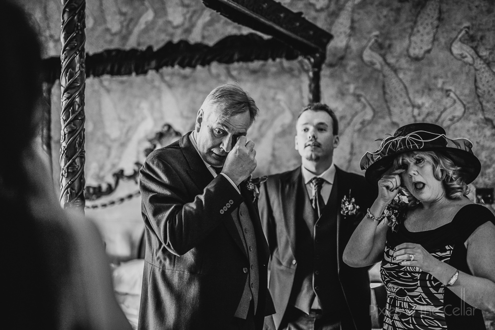 crying parents at UK wedding