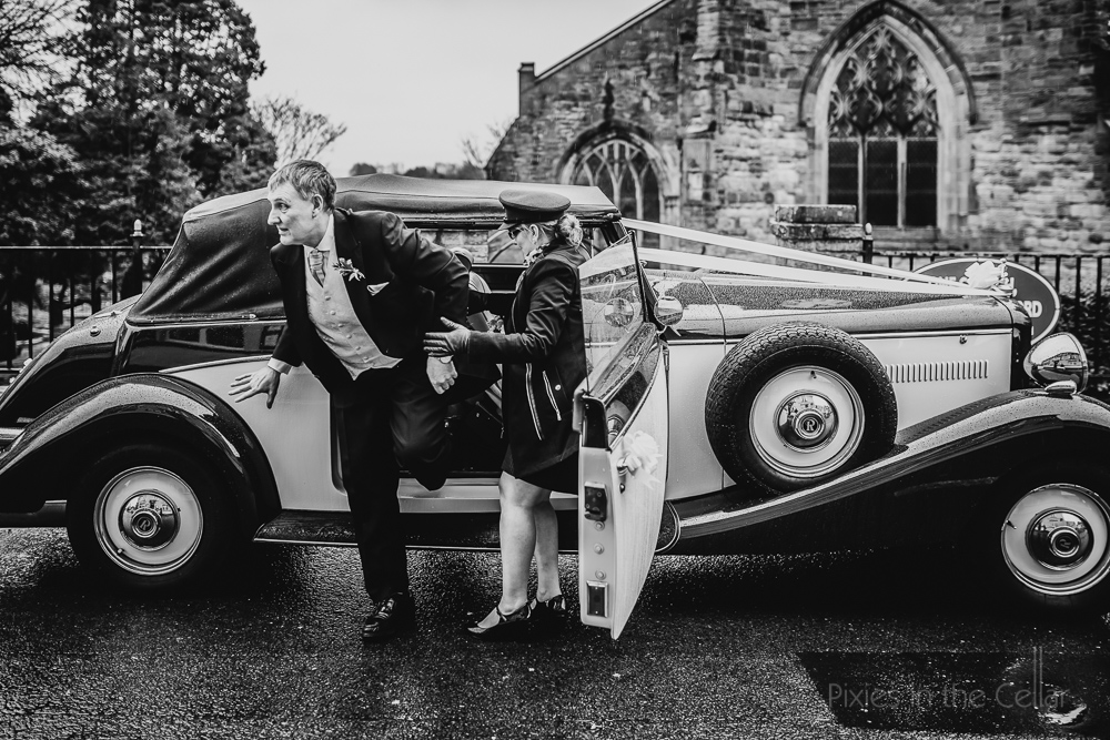 father of bride arrives classic UK wedding car
