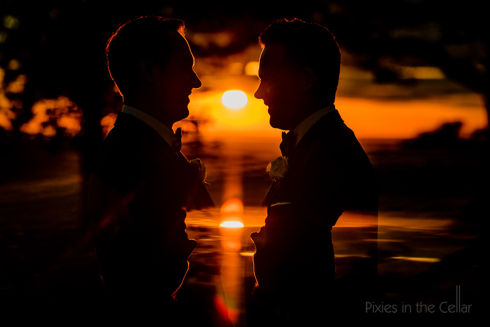 uk gay wedding sunset reflections