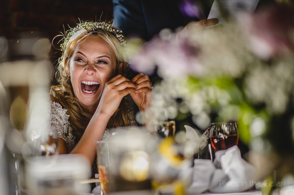 bride laughing happy tears