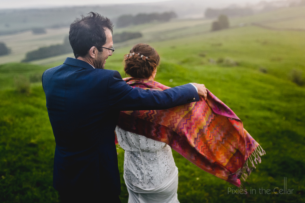 misty countryside wedding colourful shawl