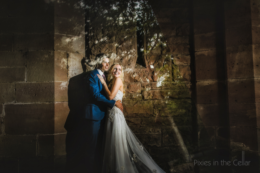 Peckforton Castle wedding bride and groom