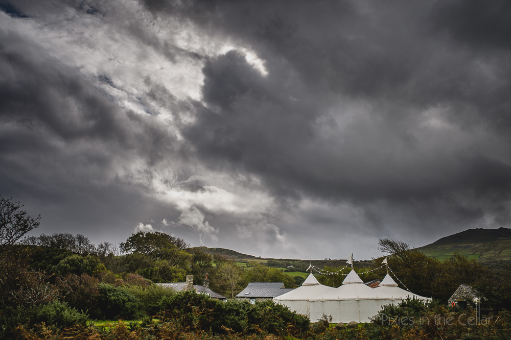 Red Welly wedding photography Ty Coch rainy day