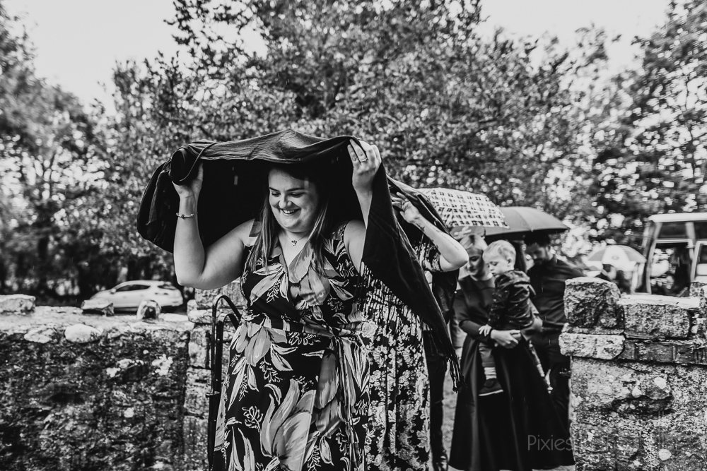 Rainy wedding day Wales photographer