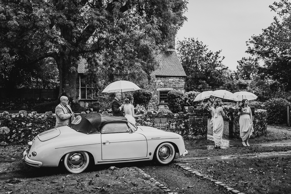 Penarth Fawr bride arrival Porsche Speedstar