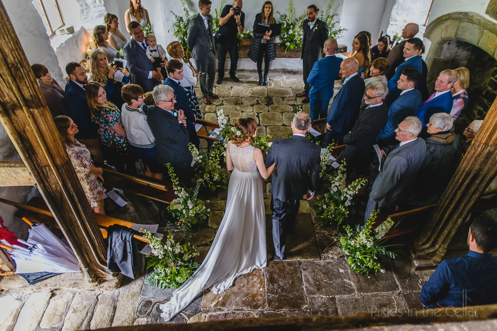 Penarth Fawr wedding ceremony rustic barn wales