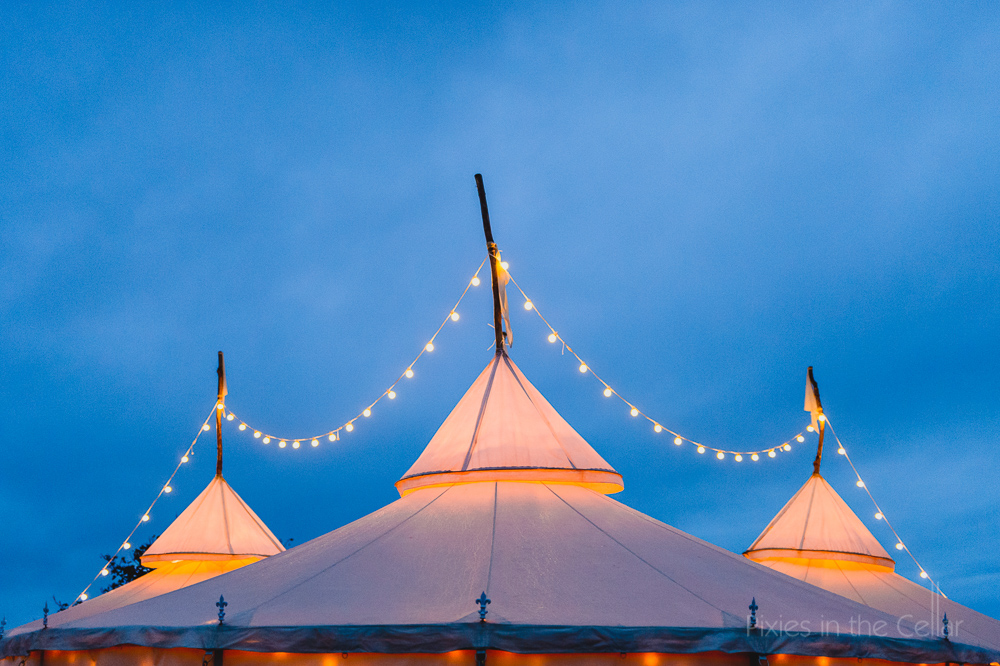 rustic wedding marquee with fairy lights festoon
