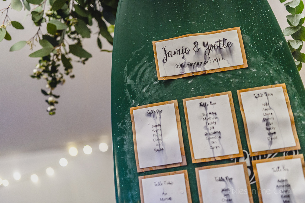Rainy wedding day photography surf board table plan