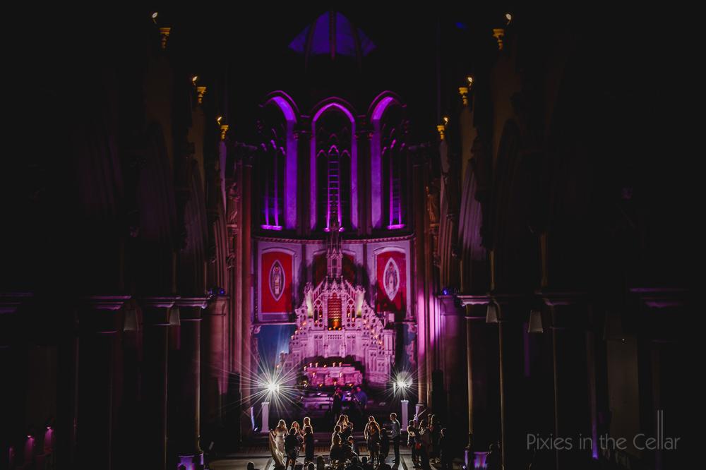 gorton Monastery wedding photography evening party Manchester