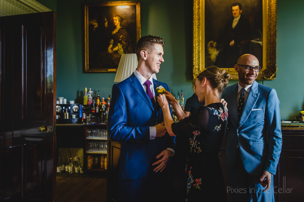 Prestwold Hall wedding groom & friends photo