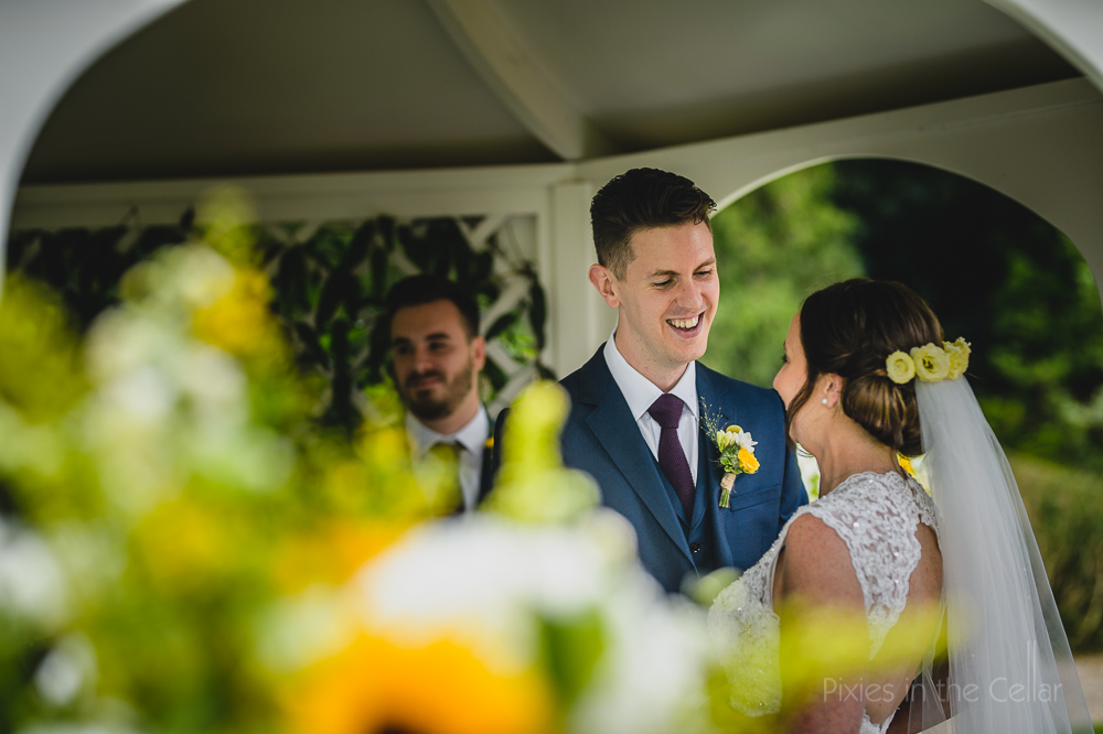 sunny outdoor wedding yellow