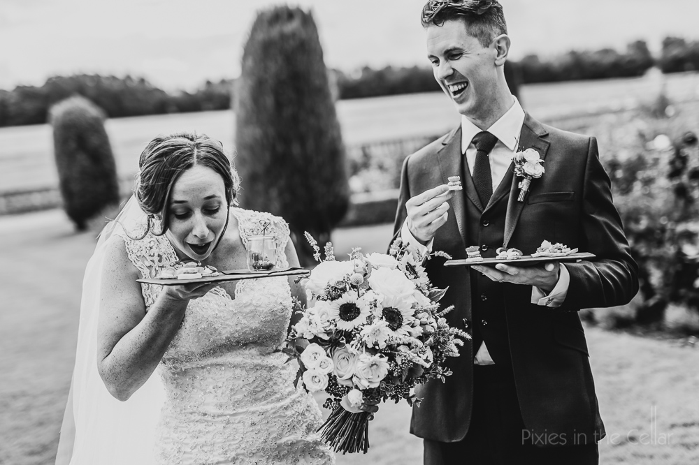 real moments fun wedding bride groom canapés