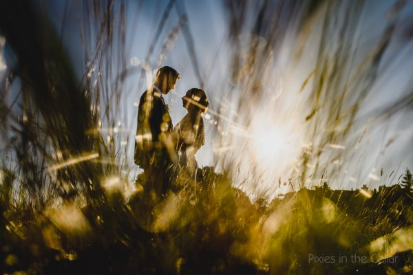 Outdoor wedding ceremony bride groom picture