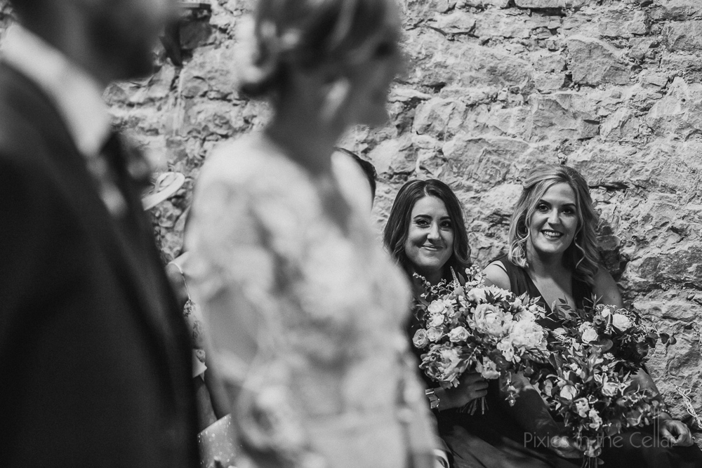 Pixies in the cellar documentary photographers bridesmaids at ceremony