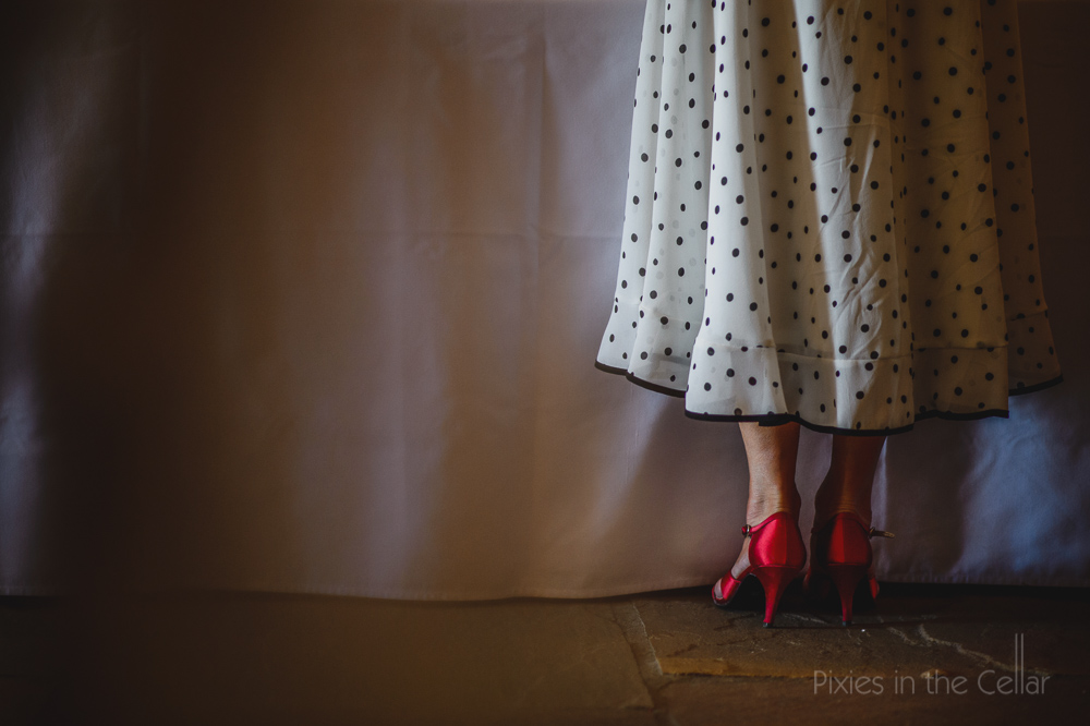polka dots red shoes