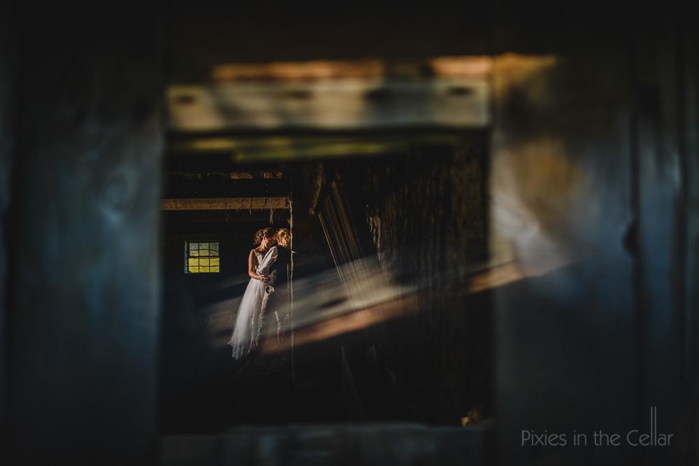 rustic barn wedding portrait Pixies in the Cellar