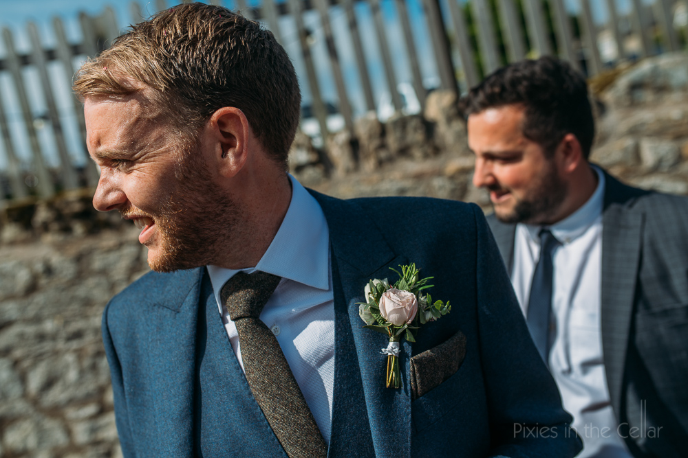 groom blue suit tweed tie