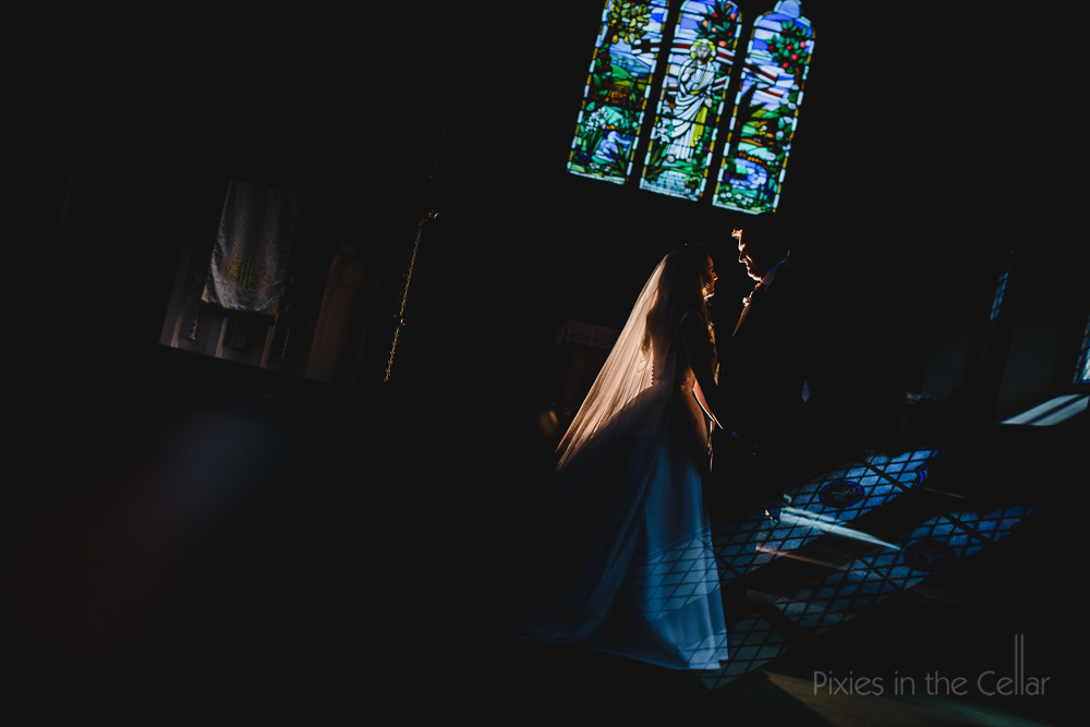 bride groom in church