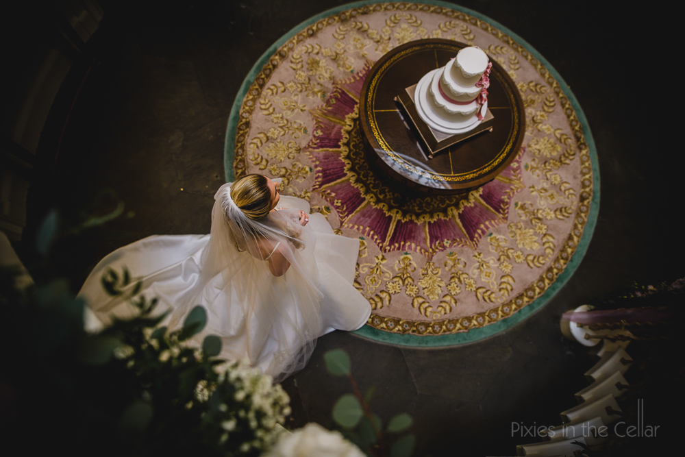 bride and wedding cake birds eye view
