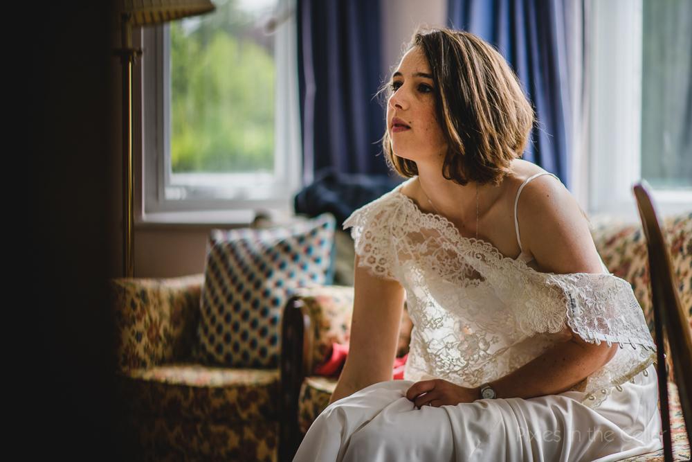 relaxed bride modern simple wedding dress lace bolero