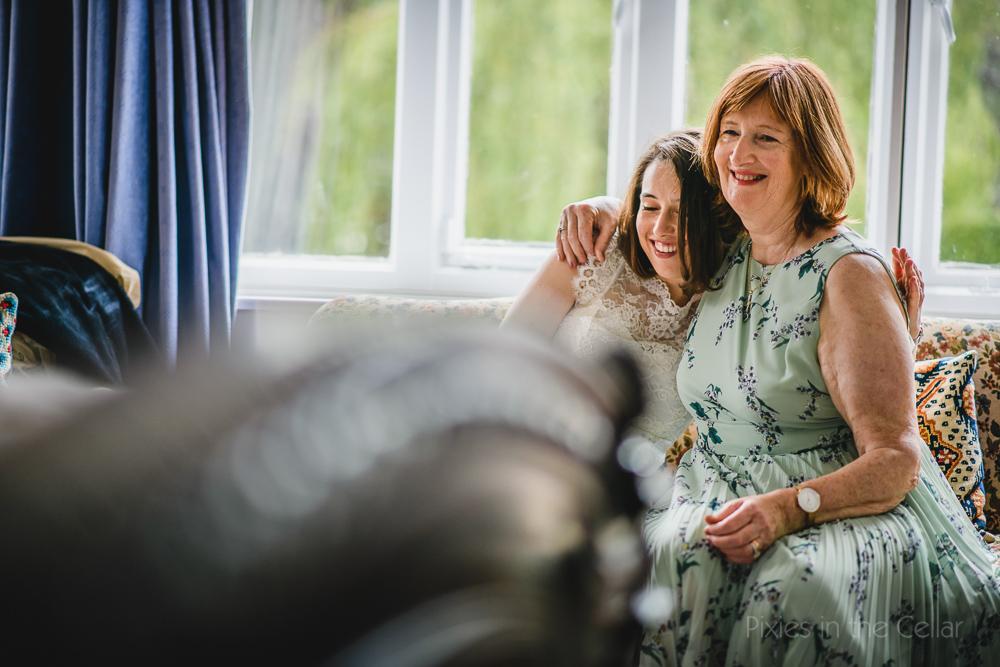 bride and mum at home