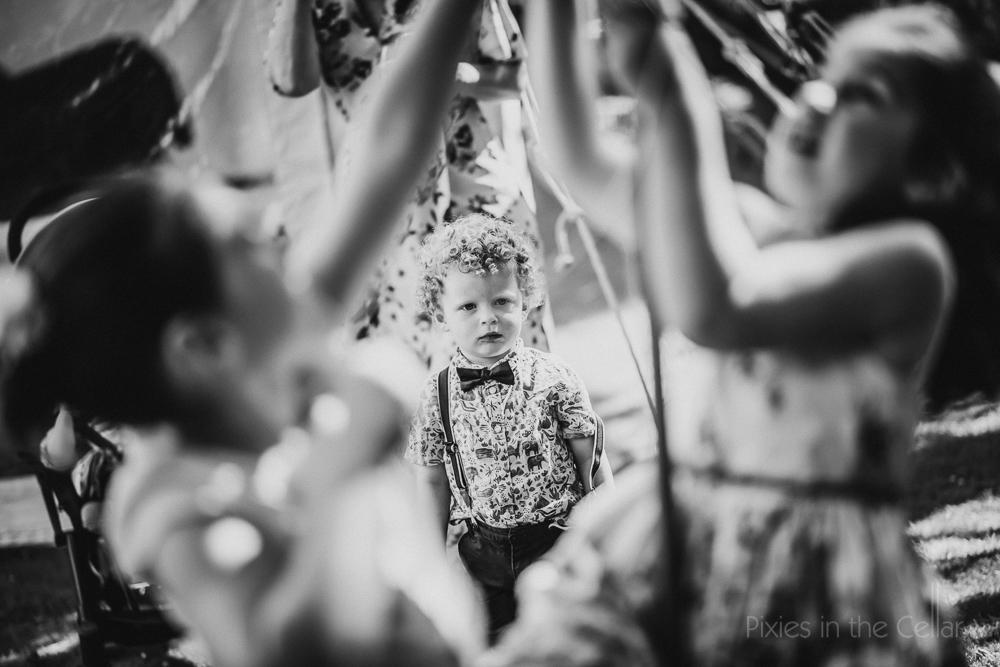 children at garden party wedding